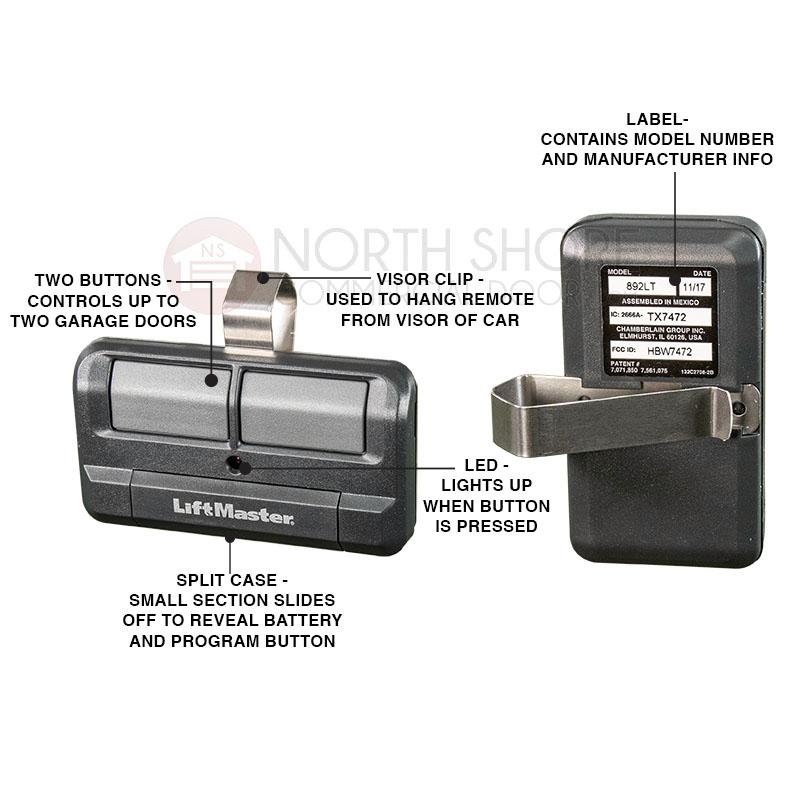 Liftmaster 892lt 2 Button Garage Door Opener Remote