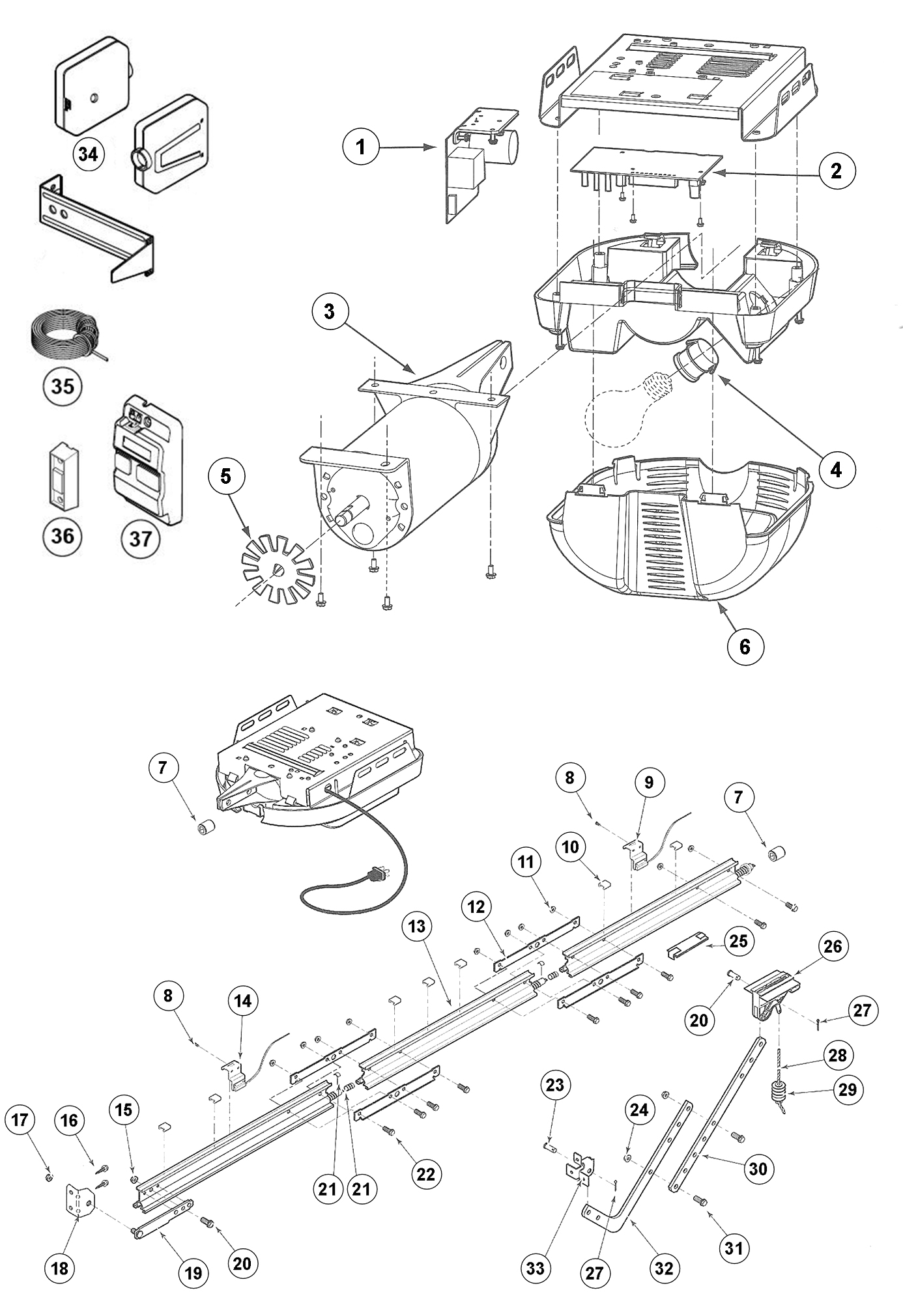Genie Excelerator Garage Door Opener Parts Schematic
