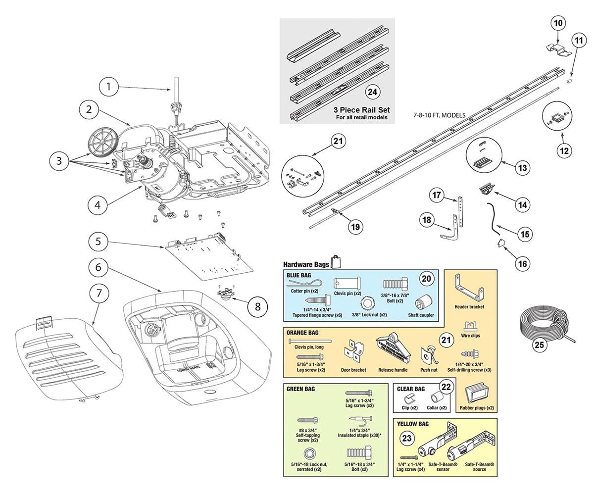 Genie 3062  3064  4062  4064 Garage Door Opener Parts