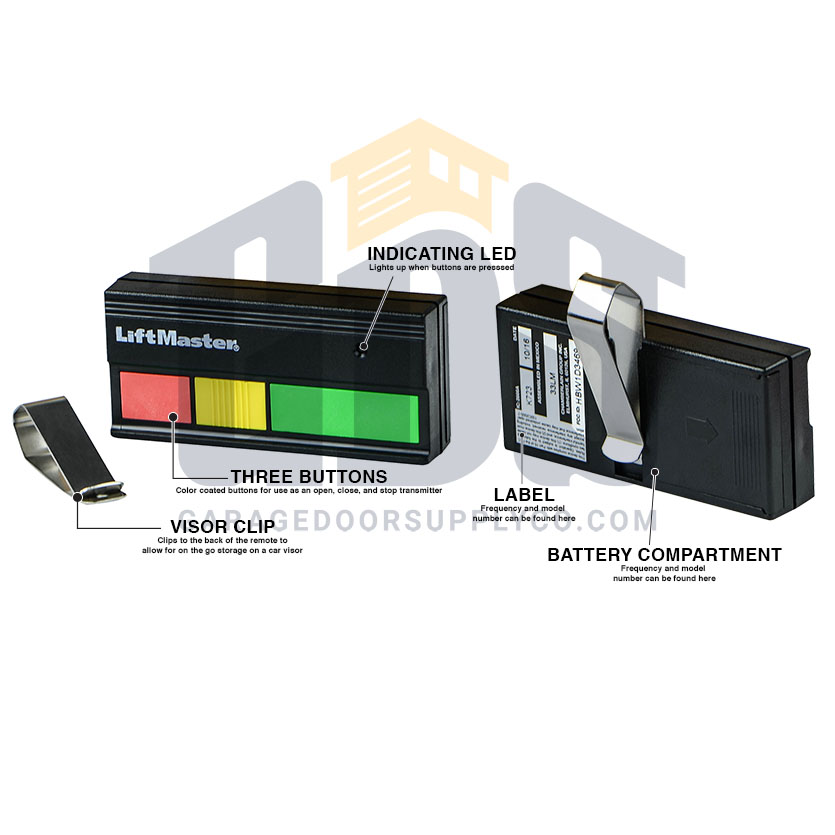 LiftMaster 333LM 3-Button Tri-Color Gate Opener Remote 9 code Switch 315MHz