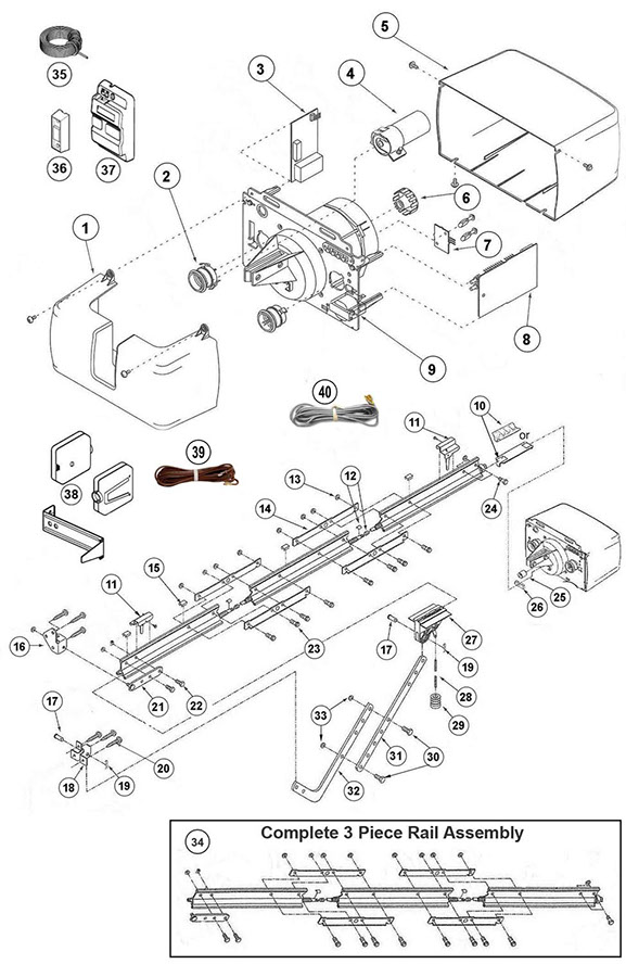 genie ac screw drive parts schematic - Genie Garage Door Opener Parts