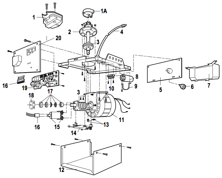 components of a garage door opener
