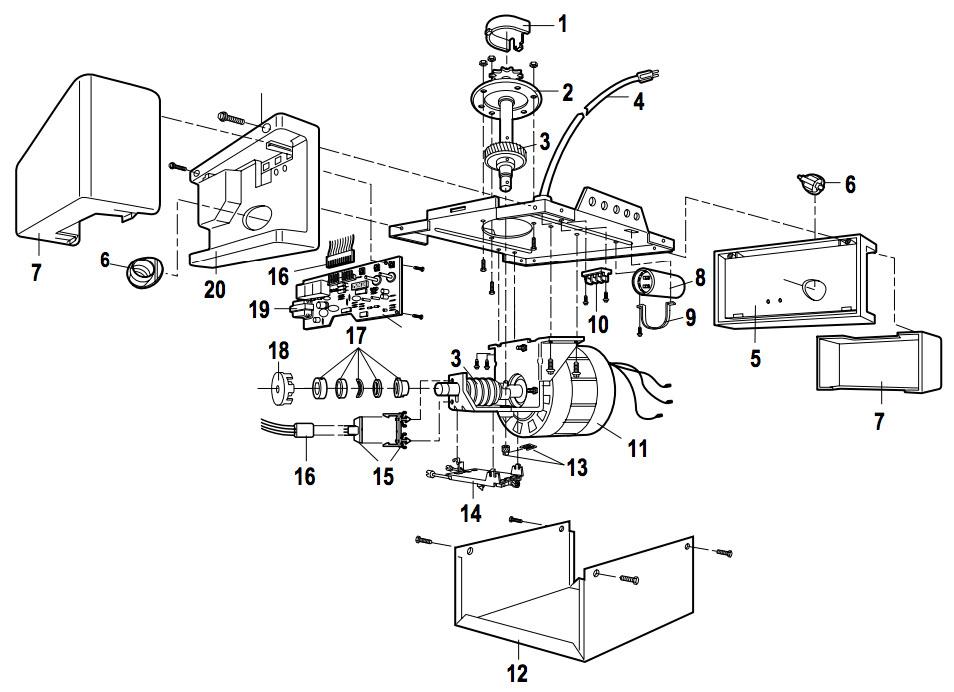 liftmaster 1265 garage door opener parts  liftmaster 1265 garage door opener parts breakdown and schematic