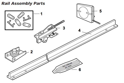 LiftMaster 1265 Rail assembly parts