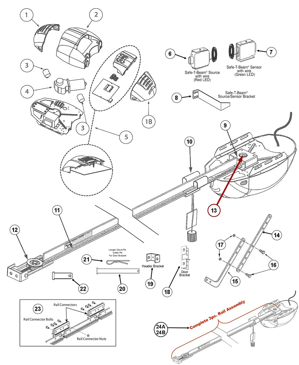 genie garage door opener rail assembly
