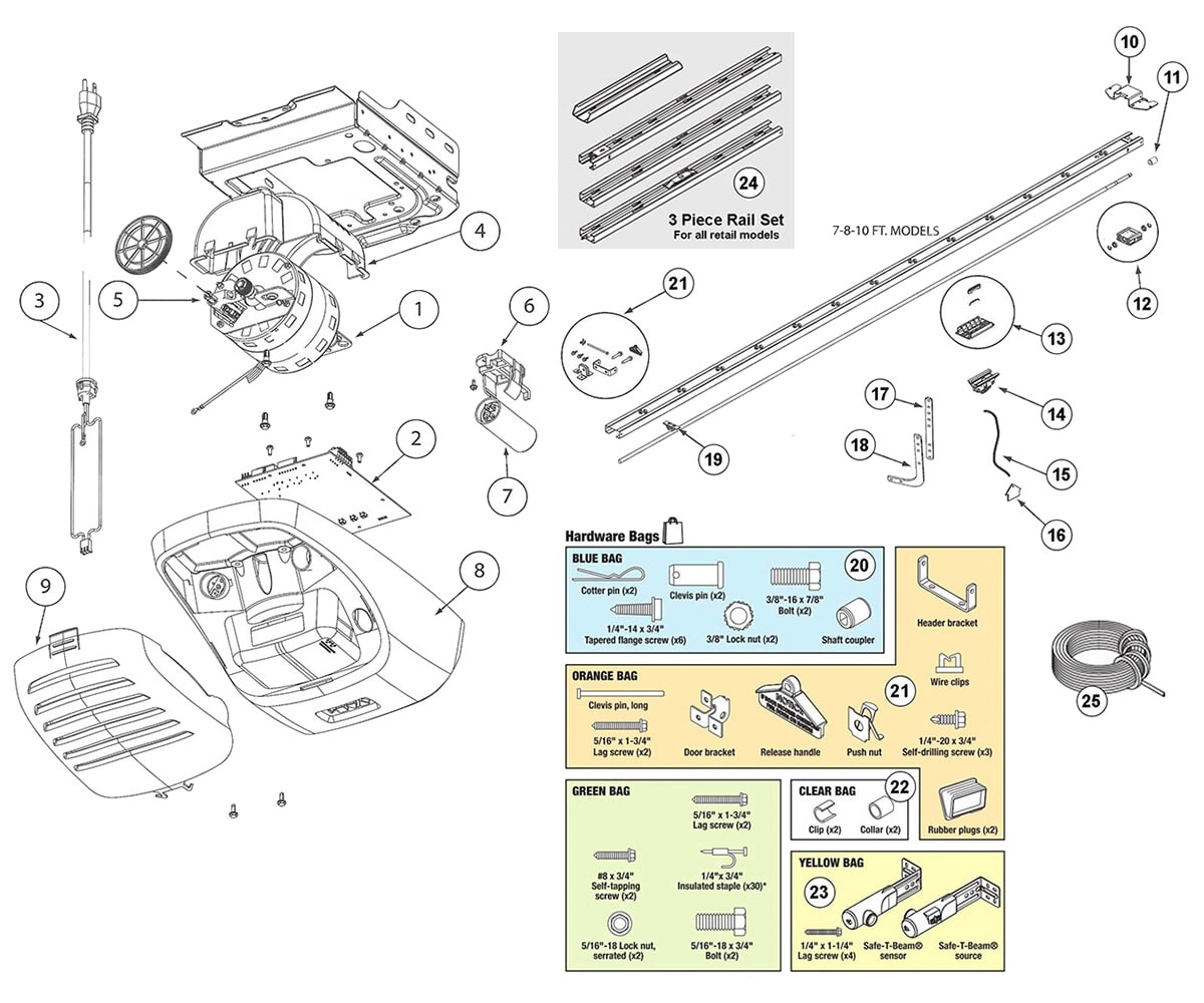 Genie 2564, 2562 Garage Door Opener Parts Diagram on